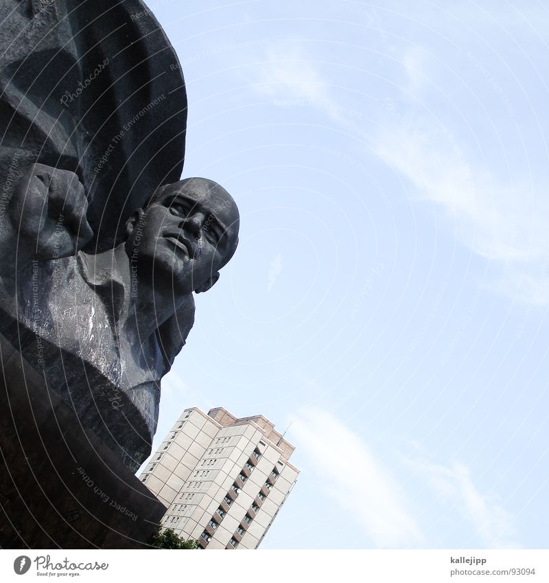 be ready - always ready! Statue Portrait photograph Bronze Steel High-rise Fighter Monument Martial Berlin Germany Capital city ernst thälmann