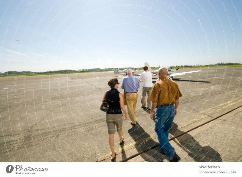 airfield mühlheim Airfield Runway Passenger Summer Tourist Airport Human being Trip charter flight