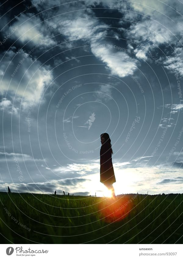Woman Sky White Sun Green Blue Calm Clouds Loneliness Autumn Grass Adults Free Stand Mysterious Coat