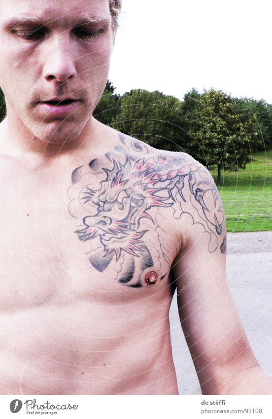 Man Summer Joy Colour Park Skin Leisure and hobbies Image Tattoo Dragon Surface Fellow Nipple