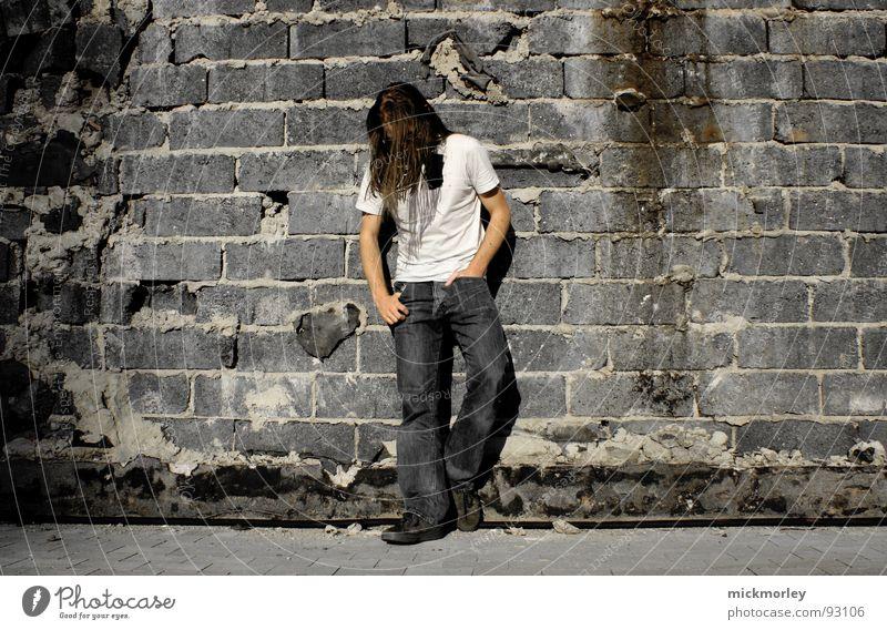 rocker on the wall Guitarist Singer Drummer Wall (building) Wall (barrier) Rock band T-shirt Easygoing Boredom rock. rocker. rock n roll statist Trashy String