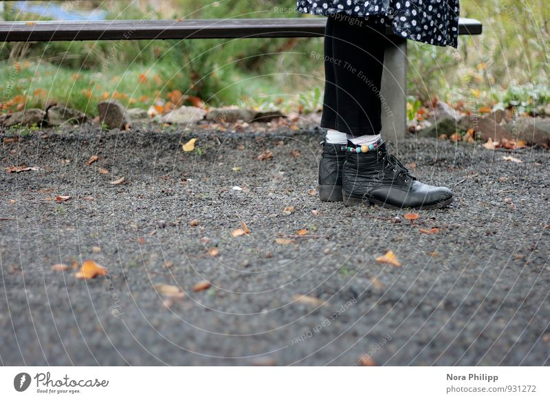 Shoe biduh Footwear Bench Leggings Autumn Grass Wait Human being Legs Stockings Leaf Park Gravel Stone To talk Stand Old-school Skirt Ankle chain Floor covering