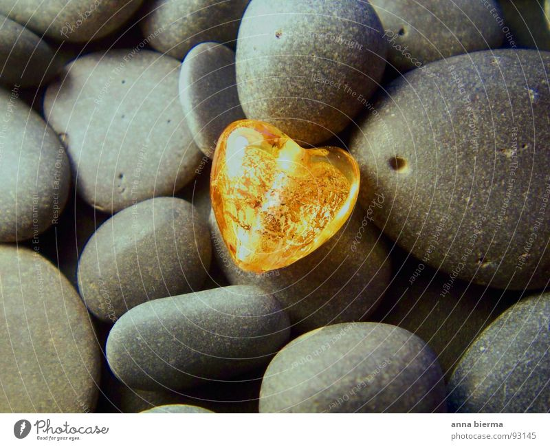 heart of glass Harmonious Nature Stone Glass Heart Glittering Love Illuminate Beautiful Yellow Gold Gray Happy Joie de vivre (Vitality) Warm-heartedness