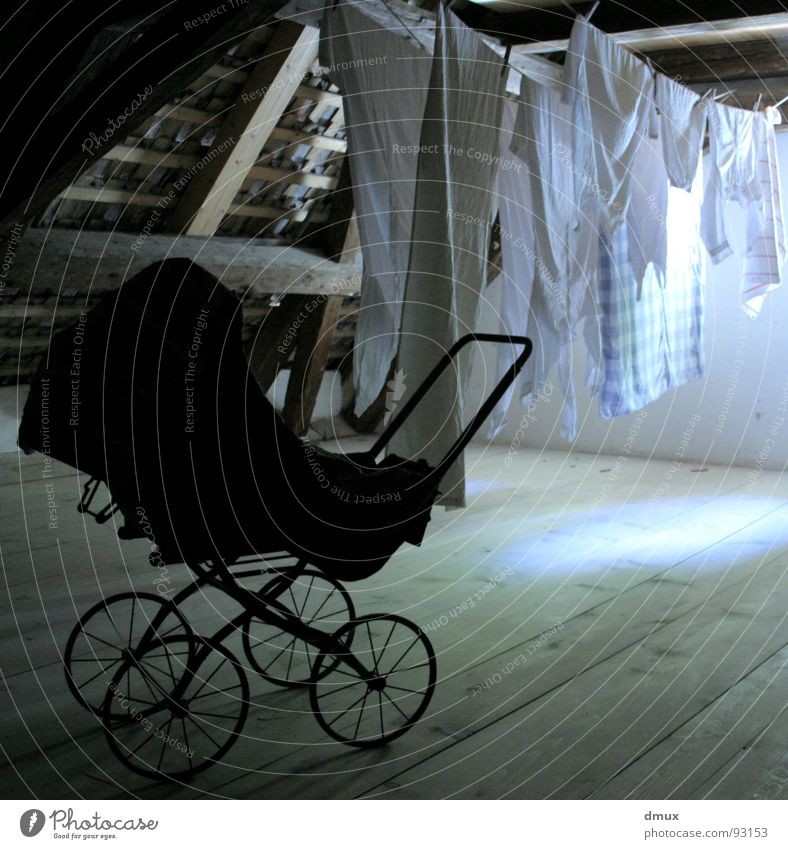 stow away Baby carriage Concrete floor Dark Laundry Attic Black Light Transience Old Joist dusty