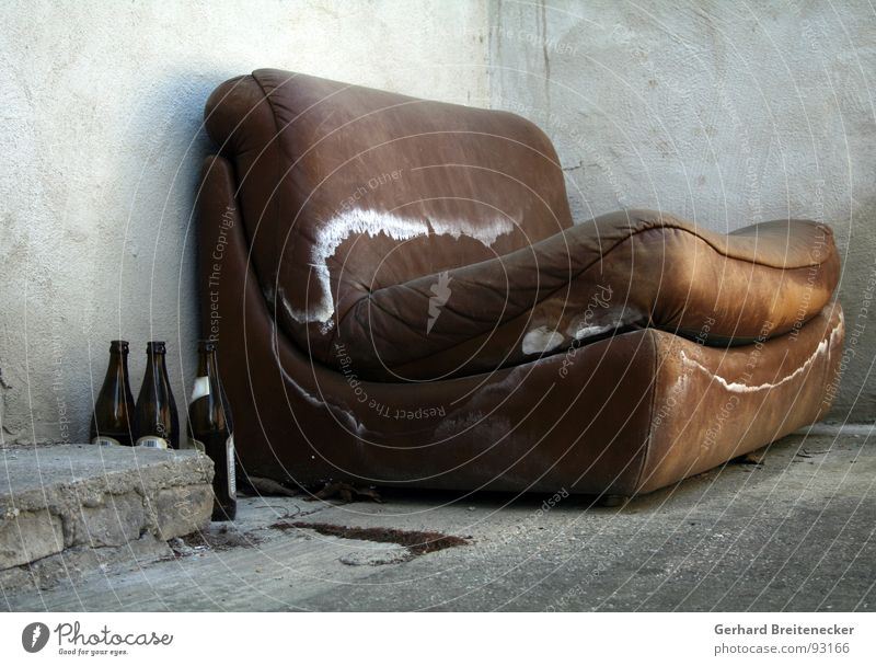 Old Loneliness Gray Sadness Brown Wet Concrete Grief Gloomy Sofa Derelict Distress Damp Shabby Terrace Mushroom