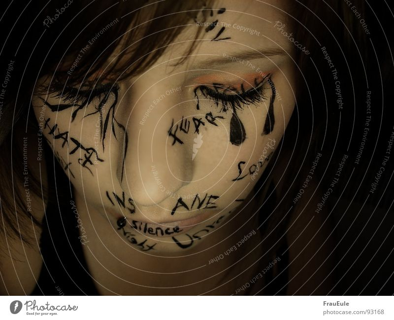 inscribed Colour photo Interior shot Close-up Artificial light Contrast Closed eyes Skin Face Illness Life Girl Woman Adults Characters Think Draw Write