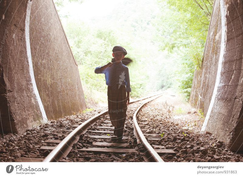 Child walking on railway road Human being Woman Vacation & Travel Old Beautiful Dark Adults Street Boy (child) Lanes & trails Line Transport Speed Trip Railroad