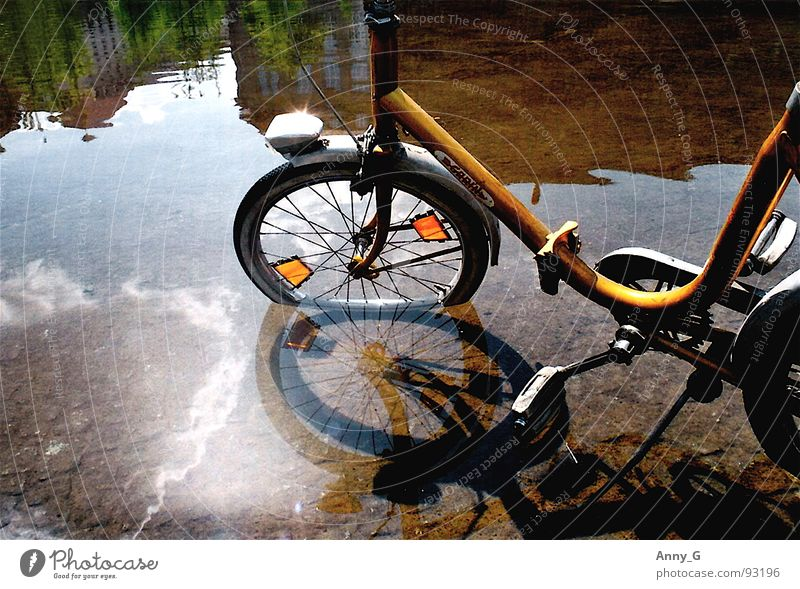 Water Yellow Pedal Bicycle Cat eyes Water reflection Folding bicycle