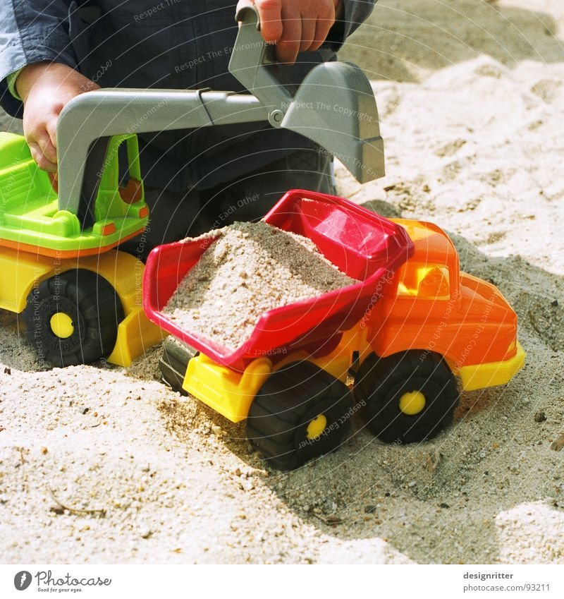 Child Boy (child) Playing Sand Construction site Toys Truck Construction worker Excavator Sandpit Dumper