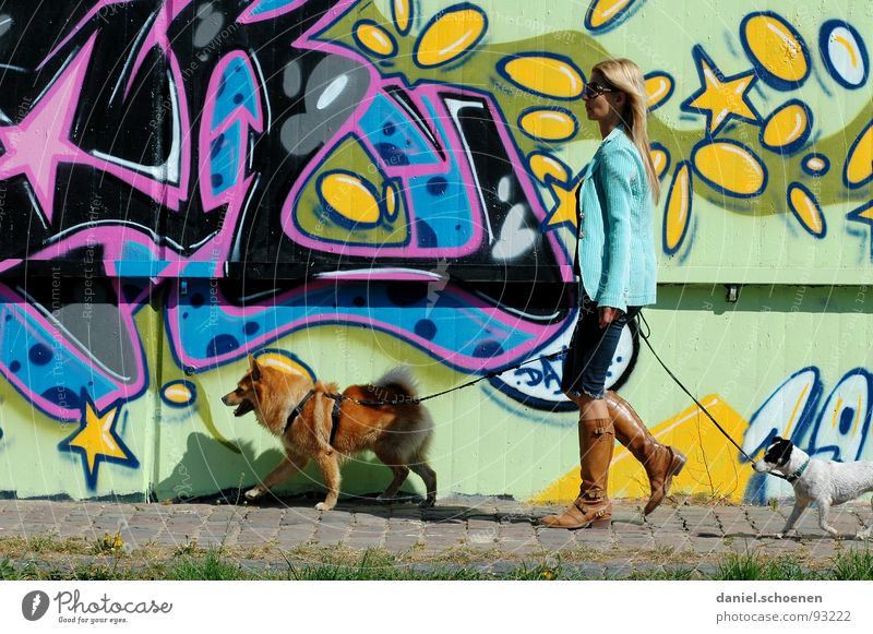 Woman Blue Summer Yellow Dog Graffiti Pink Walking To go for a walk Leisure and hobbies Painting and drawing (object) Cyan Spray