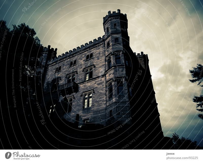 Sky Tree Leaf Clouds Dark Window Stone Building Moody Fear Glass Threat Tower Creepy Castle Historic