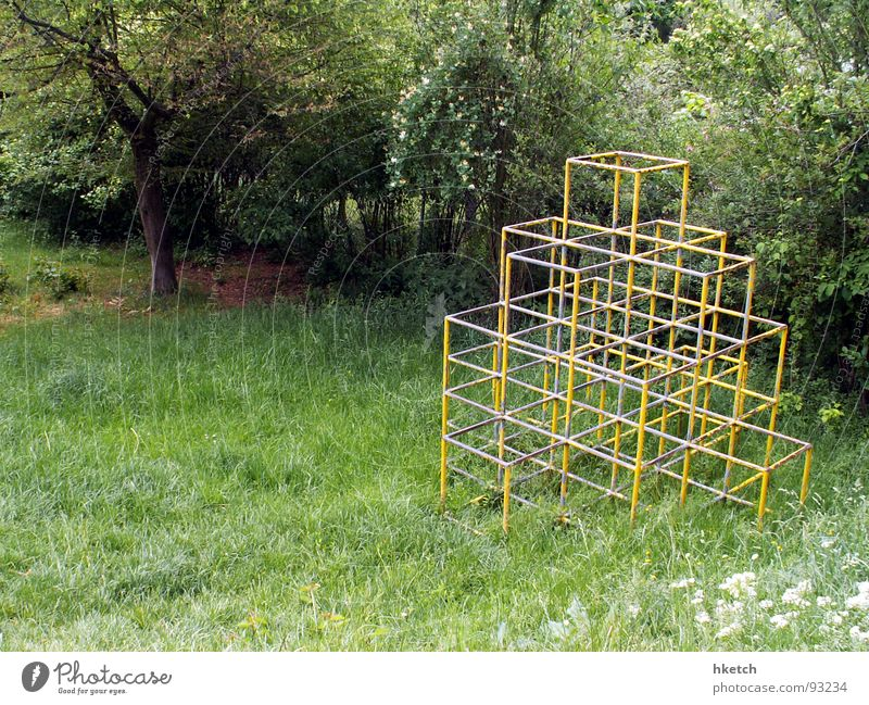 children's paradise Playing Playground Meadow Derelict Transience Climbing climbing scaffold metal struts no sandpit Gloomy Loneliness Boredom yell Infancy