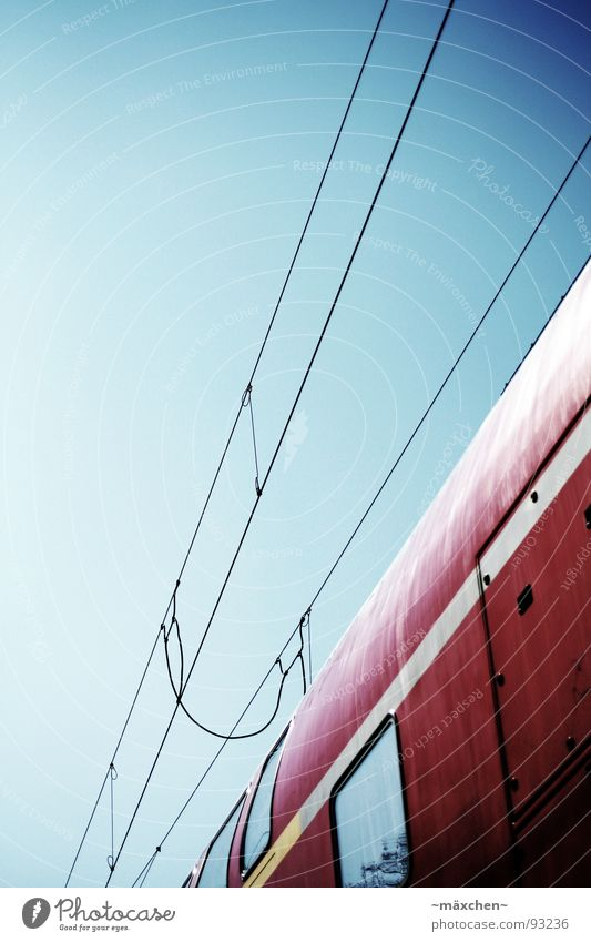 Sky Blue Red Vacation & Travel Far-off places Window Movement Door Railroad Transport Speed New Cable Longing Information Railroad tracks