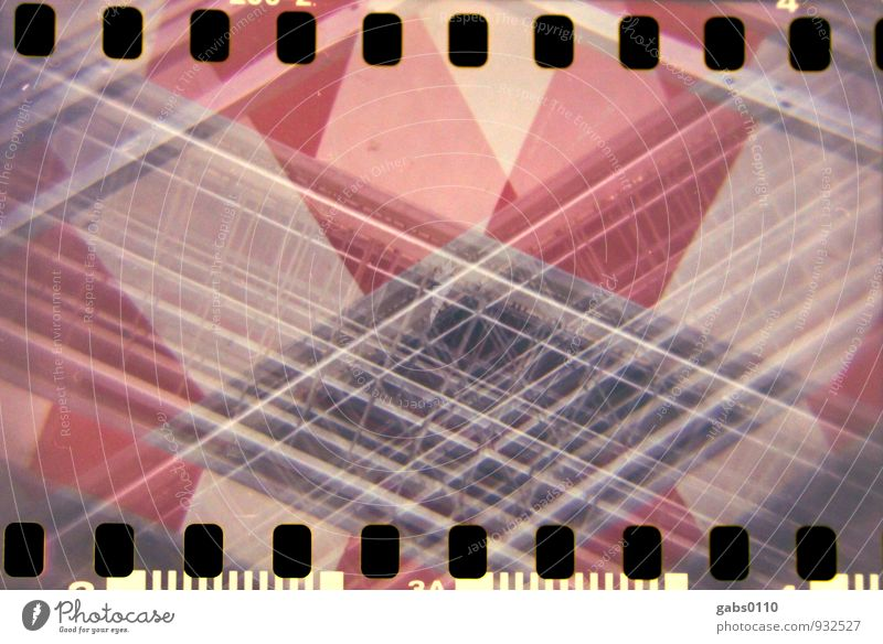 cordon Lomography Colour Film Barrier Fence Closed Barred Hoarding Analog Red White Metal Double exposure diamond