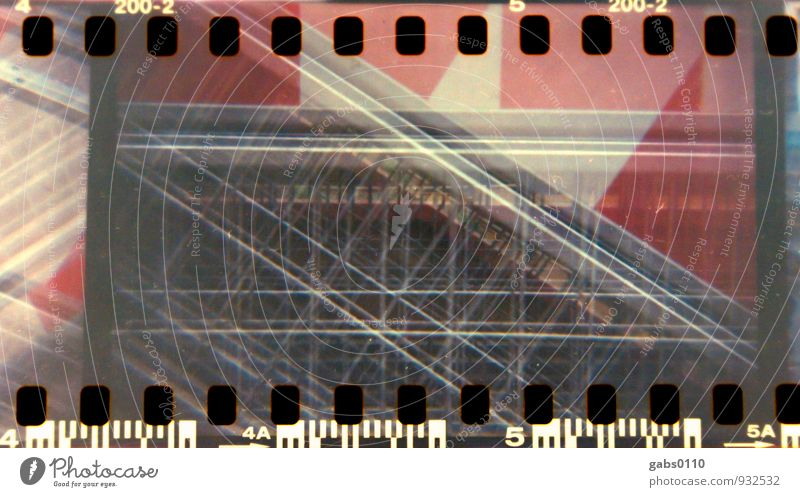 Shut-off II Lomography Colour Film Barrier Fence Closed Barred Hoarding Analog Red White Metal Double exposure diamond