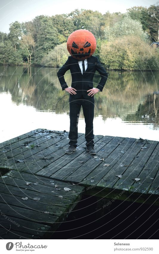 SOON Carnival Hallowe'en Human being Masculine Man Adults 1 Autumn Park Pond Lake Suit Creepy Fear Pumpkin pumpkin head Mask Footbridge Colour photo