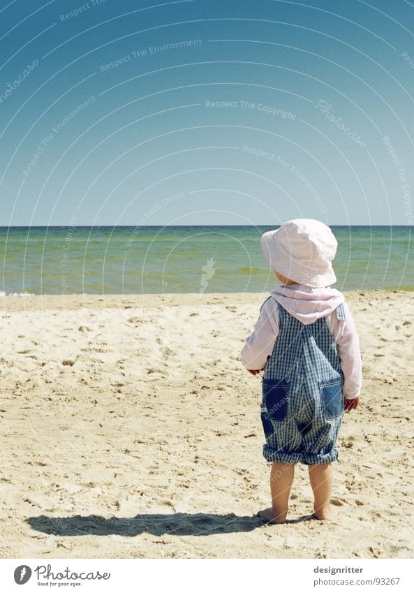 Child Water Girl Ocean Summer Beach Feet Lake Sand Legs Coast Hat Baltic Sea Working clothes Overalls