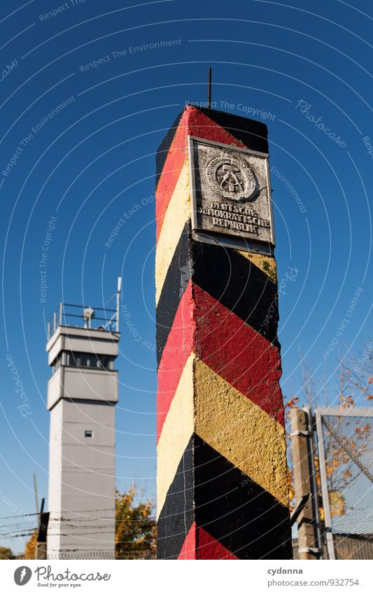 Autumn Freedom Germany Tower Might Protection Safety German Flag Education Past End Cloudless sky Barrier Border Testing & Control Society