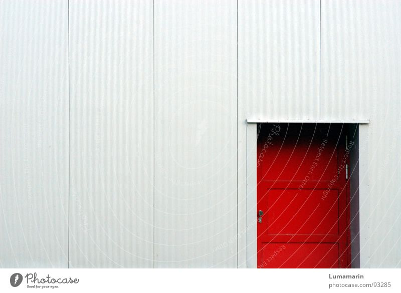 Red House (Residential Structure) Colour Cold Gray Building Warmth Line Door Facade Closed Safety Modern Dangerous Threat