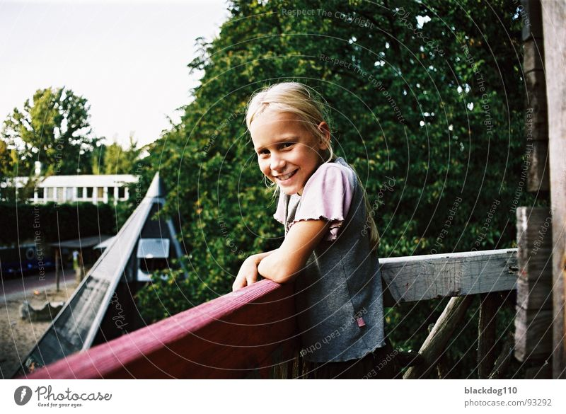 Child Girl Green Summer Joy Laughter Blonde Playground Innocent Tree house