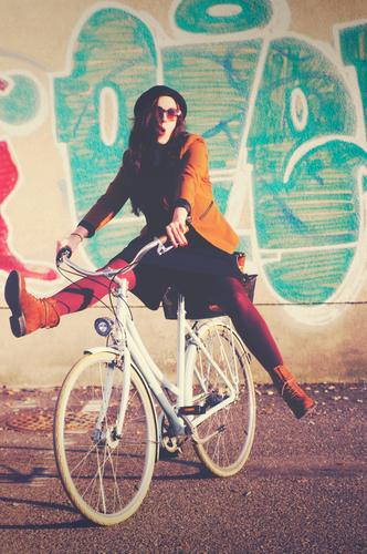 Bicycle fun_02 Style Leisure and hobbies Feminine Young woman Youth (Young adults) Woman Adults 1 Human being 18 - 30 years Contentment Movement Joy