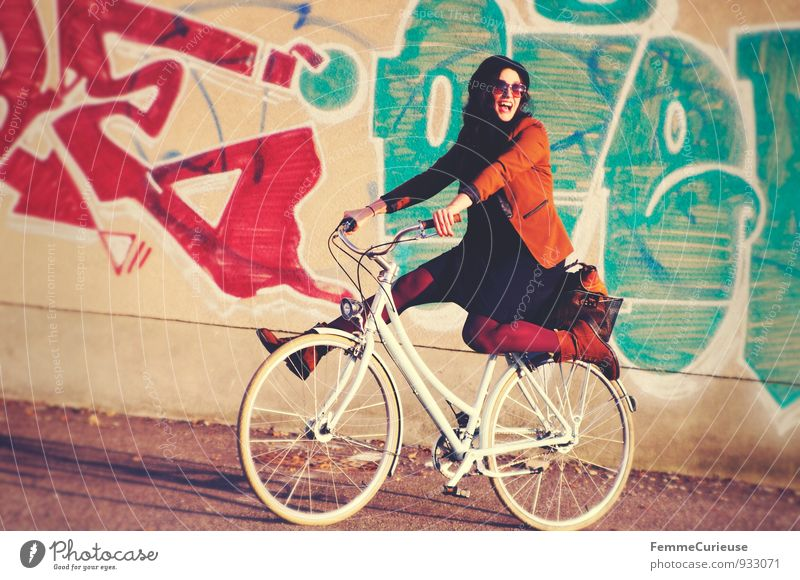 Human being Woman Youth (Young adults) City Young woman Joy 18 - 30 years Adults Graffiti Movement Feminine Funny Laughter Leisure and hobbies City life Smiling