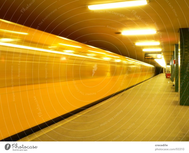 U-Bahn surfin' Yellow Electricity Lamp Neon light Tunnel Subsoil Railroad tracks Window Long exposure Subway. train. Berlin Capital city lure Column Underground