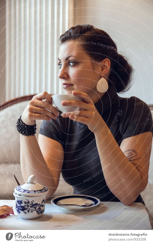 coffee break To have a coffee Hot drink Coffee Tea Cup Feminine Young woman Youth (Young adults) Think Relaxation Looking Sit Drinking Beautiful Natural