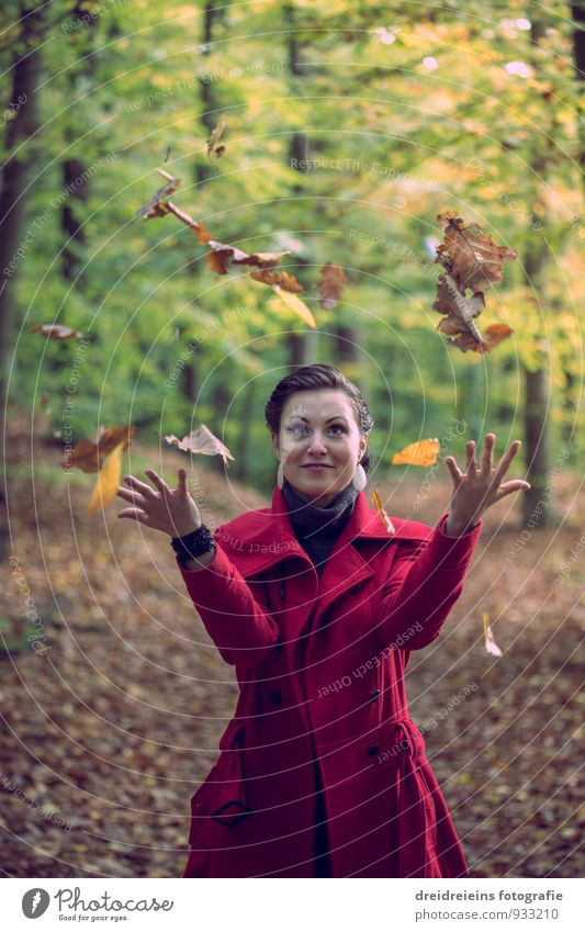 autumnal magic Feminine Woman Adults Nature Sunlight Autumn Beautiful weather Park Forest Jacket Black-haired Brunette Movement Love Playing Esthetic