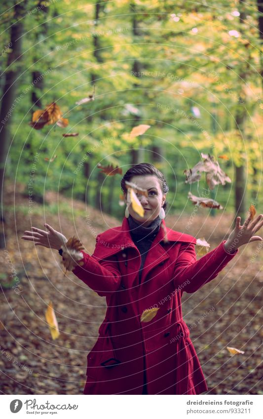 Woman Nature Youth (Young adults) Beautiful Young woman Leaf Joy Forest Adults Autumn Feminine Happiness Joie de vivre (Vitality) Uniqueness Friendliness Jacket