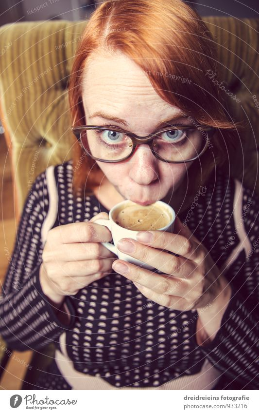Is it good? To have a coffee Hot drink Coffee Espresso Feminine Woman Adults Eyeglasses Red-haired Sit Drinking Elegant Brash Friendliness Beautiful Eroticism