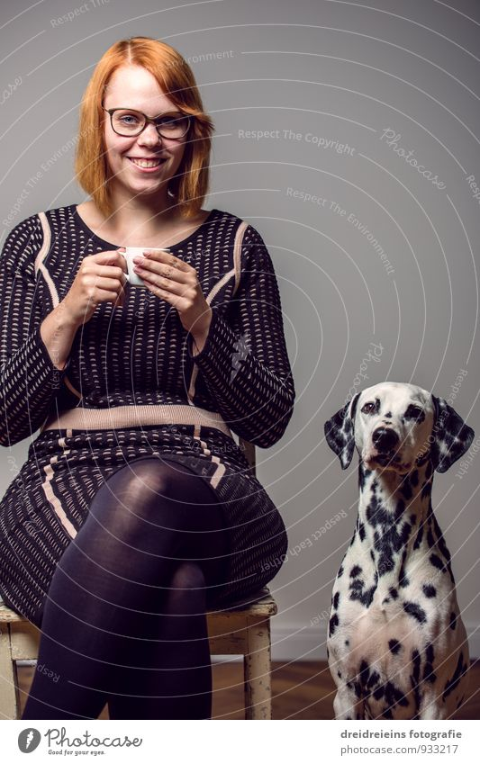 Dog Woman Beautiful Relaxation Animal Adults Feminine Laughter Friendship Together Elegant Sit Wait Happiness Smiling Cute