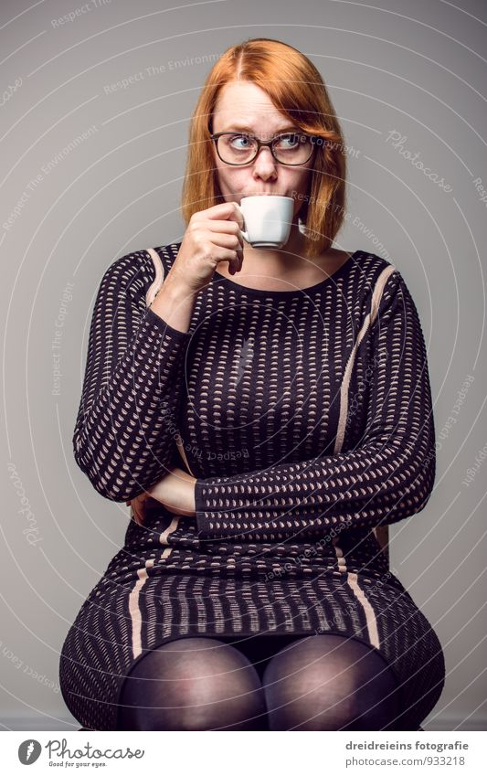 A cup of coffee in honor, I guess no one can deny me Feminine Woman Adults Dress Eyeglasses Red-haired Sit Drinking Elegant Uniqueness Reliability