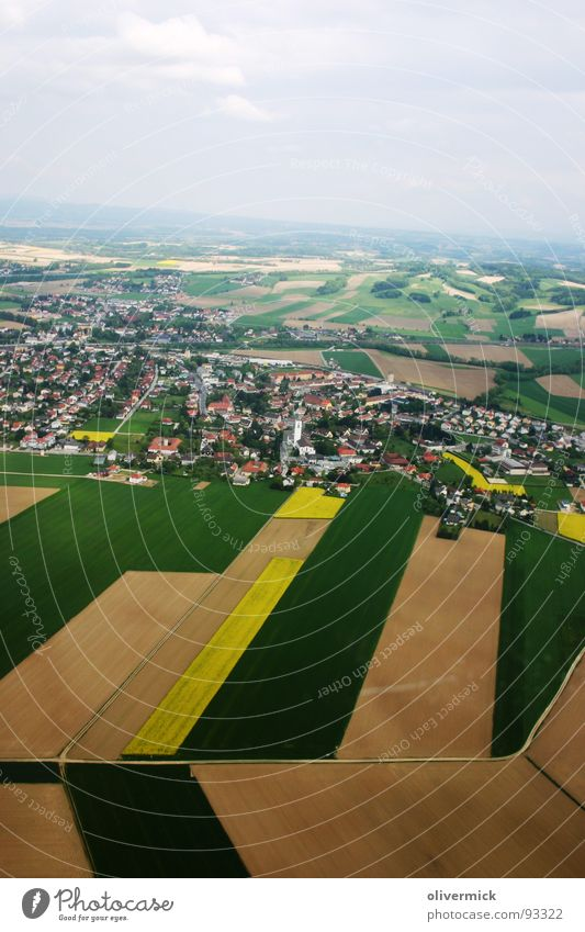 flyover Field Canola Multicoloured Town Bird's-eye view House (Residential Structure) Green Brown Nature