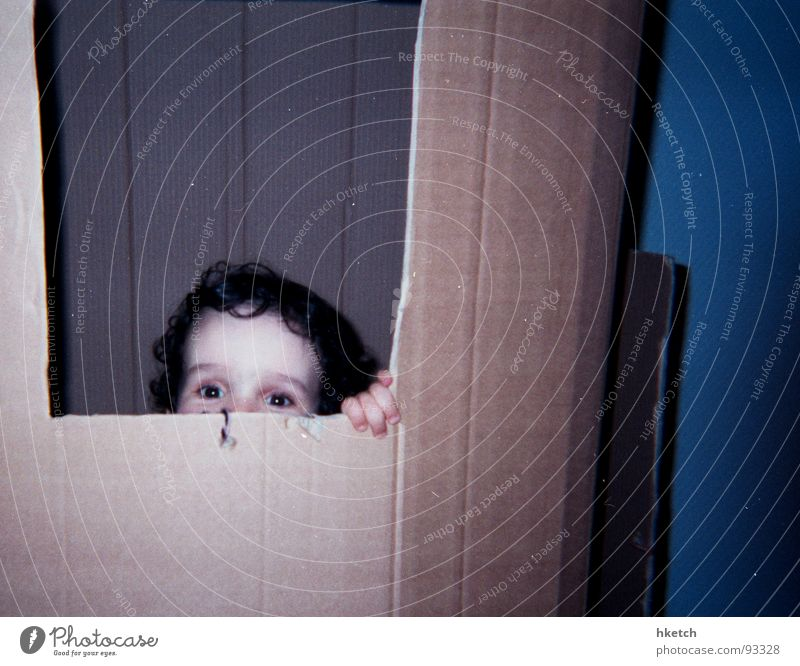 Cuckoo! Child Hide Curiosity Joy Toddler Hiding place Cardboard cardboard house spickel Kilroy was here