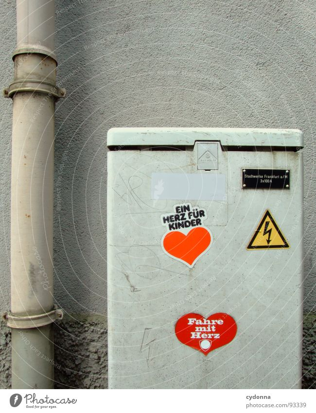 Electricity with heart Label Downspout Wall (building) Frankfurt Gray Plastered Uniqueness Fashioned House (Residential Structure) Services Utilize