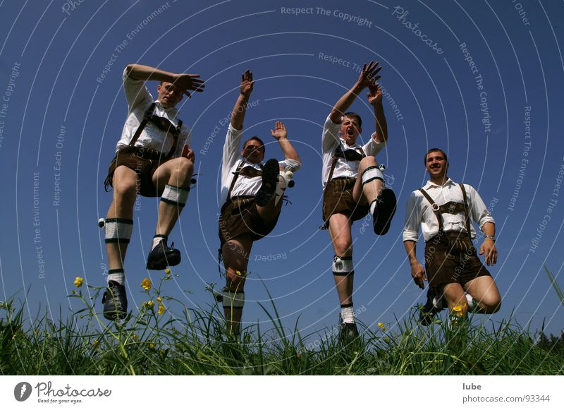 Man Joy Jump Dance Joie de vivre (Vitality) Costume Leather shorts Emotions Folklore music