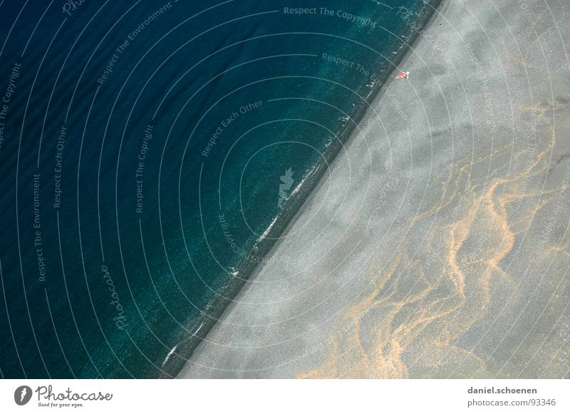 sloping beach Beach Bird's-eye view Loneliness Abstract Background picture Vacation & Travel Ocean Sea water Pattern Gray Dark Empty Corsica Turquoise Cyan