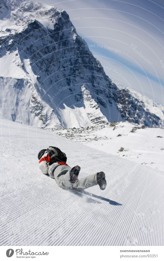Man Sun Winter Cold Mountain Snow Sports Playing Rock Lie To fall Alps Risk Skiing Pain Brave