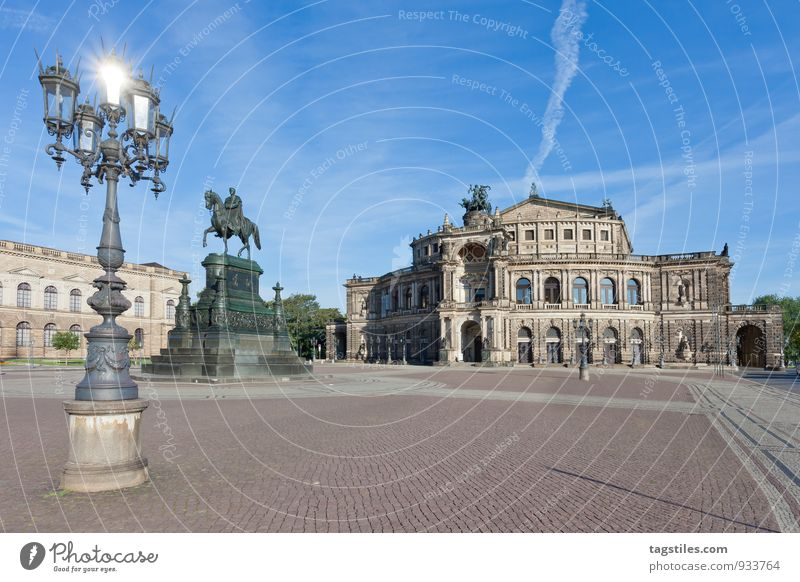 spotlight Semper Opera Opera house Dresden Architecture Day Sun Sunbeam Glittering Landmark Saxony Germany Capital city Long exposure Vacation & Travel