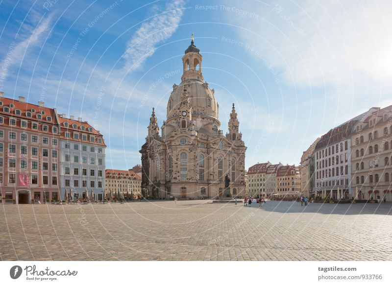 Tidied Dresden Frauenkirche Saxony Marketplace Religion and faith Church Dome Sun Sunbeam Vacation & Travel Travel photography Empty Idyll Card Blue sky Town