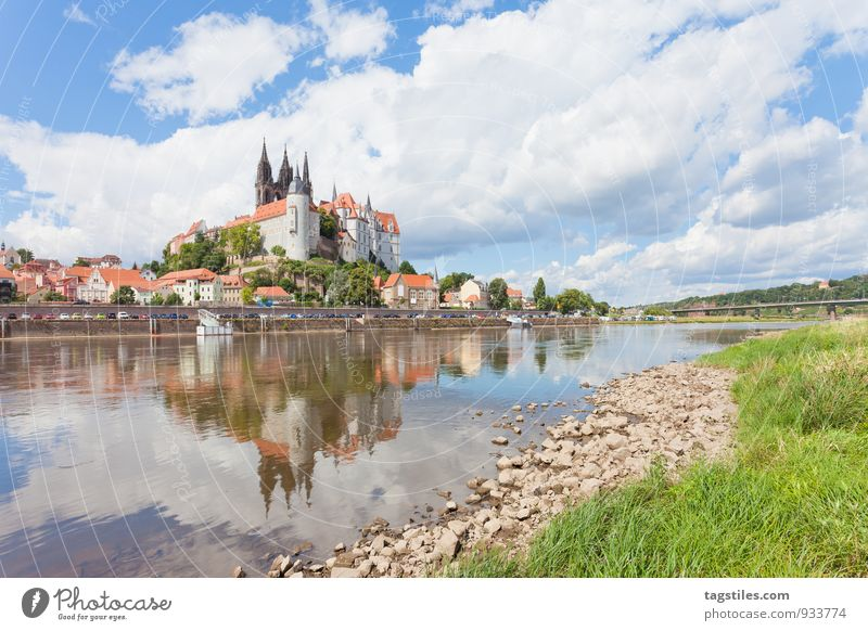 MEISSEN Meissen Saxony Porcelain albrechtsburg Castle Fortress Historic Elbe Vacation & Travel Card River Germany Reflection River bank Travel photography