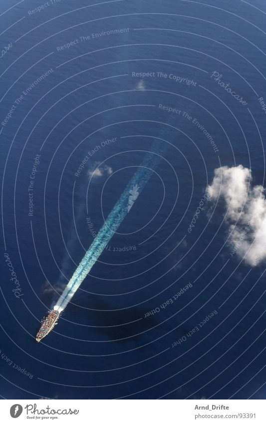container ship Watercraft Clouds Aerial photograph Ocean Vantage point Bird's-eye view Waves Navigation Container Aviation Flying Blue