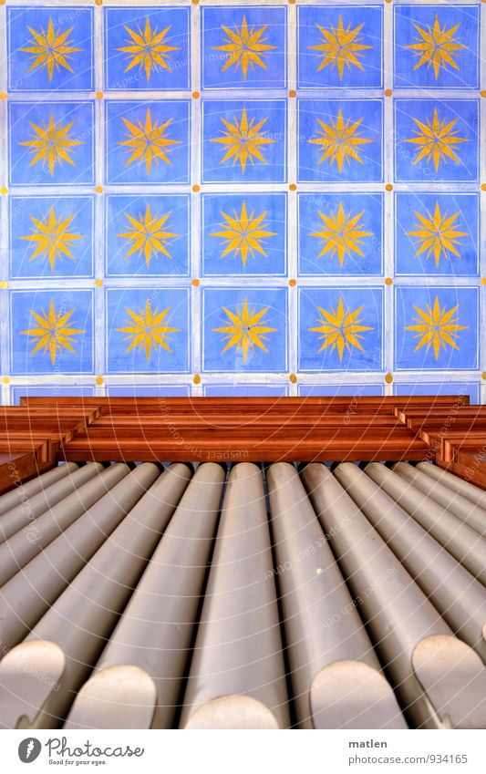 Stars...sky Deserted Church Architecture Historic Blue Brown Yellow Silver Modest Refrain Thrifty Ceiling fresco Organ pipe Religion and faith Colour photo
