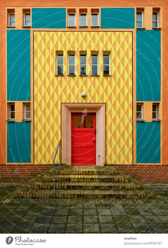 Blue City White Red House (Residential Structure) Black Window Yellow Wall (building) Architecture Wall (barrier) Gray Berlin Brown Stairs Door
