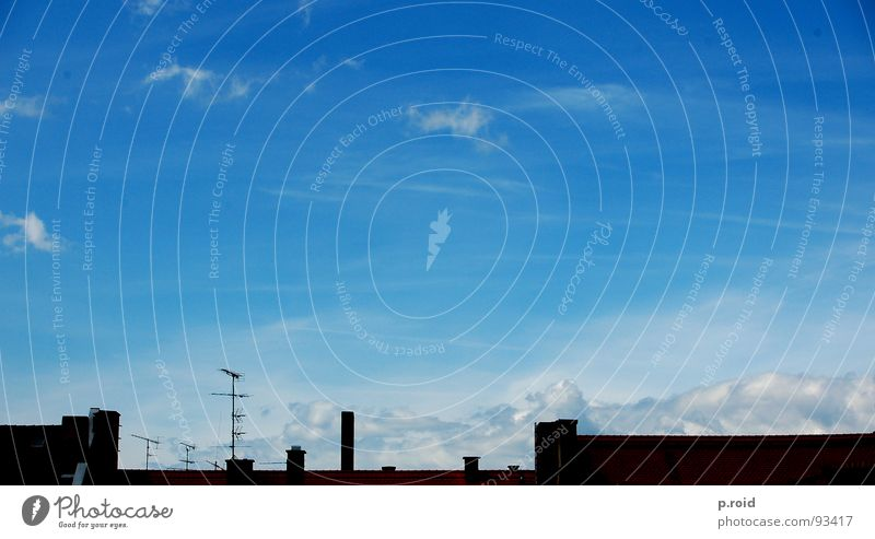 clouds and rain. Antenna House (Residential Structure) Roof Television Brick Broacaster Top Summer White Cover up Sky Chimney Clarity Blue Skyline Silhouette