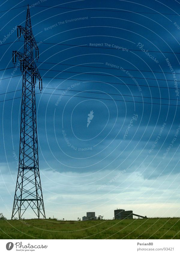 Sky Green Blue Clouds Landscape Horizon Energy industry Electricity Electricity pylon Transmission lines