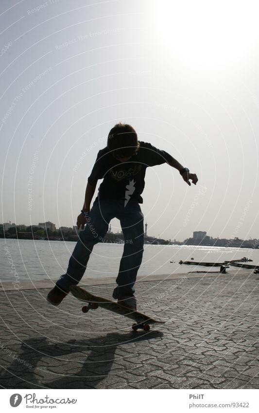 Skate into the sun Skateboarding Dubai Sunset Victoria & Albert Waterfront Funsport creek Ollie