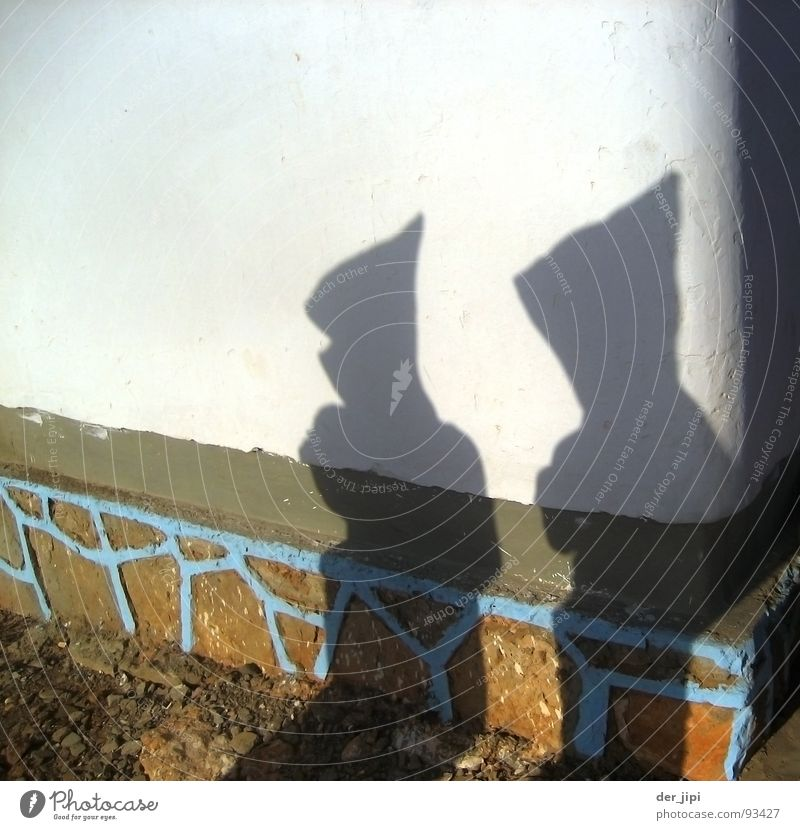 shadow men Dark Light Morocco Africa Man Clothing Costume Wall (barrier) Wall (building) Plaster Cap Point Hooded (clothing) Detail Transience Shadow Bright
