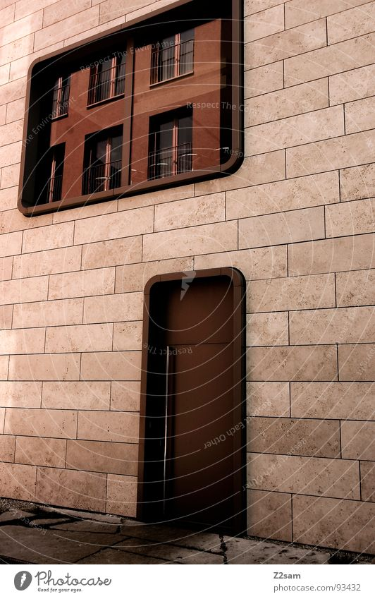 A round thing. House (Residential Structure) Simple Window Reflection Physics Mirror Style Round Thorough Modern architecture Stone Door Warmth Colour Glass